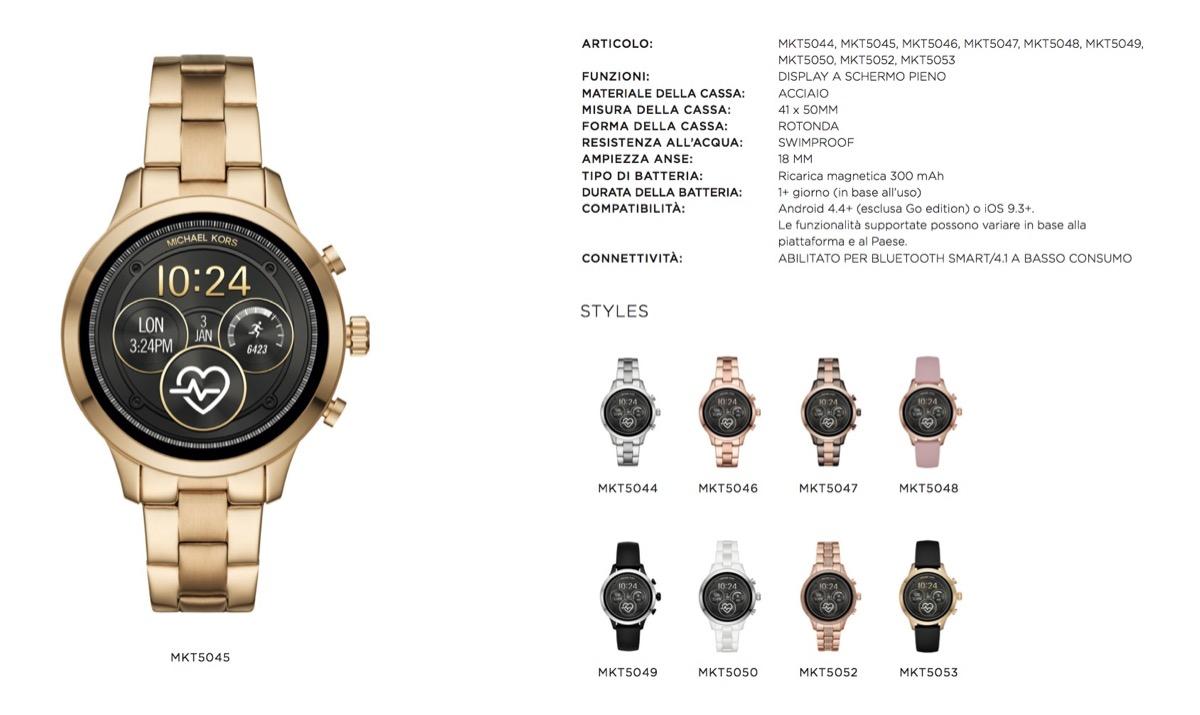b8316f2c5656 Modelli con bracciale in acciaio inossidabile. Michael Kors Smartwatch Donna  ...