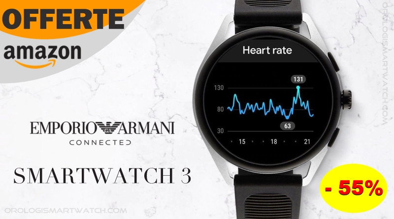 Emporio Armani Connected Smartwatch 3 in offerta su Amazon con sconto del 55%